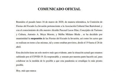 COMUNICADO OFICIAL SUSPENSIÓN FIESTAS DEL ESCUDO LA INVASIÓN 2020
